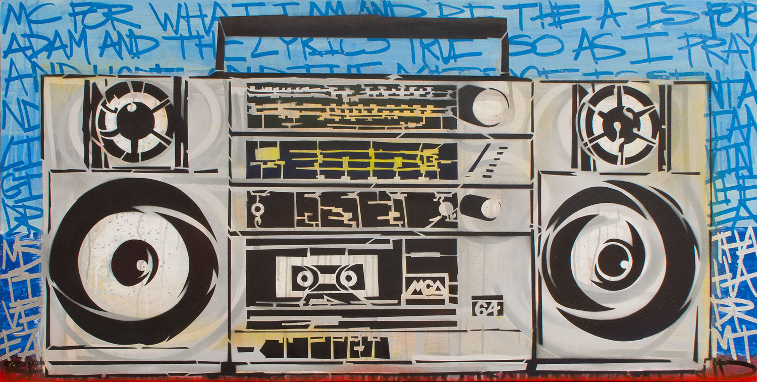 "A Year and a Day (Tribute to Adam Yauch), Mixed Media on Wood, 48""x24"""