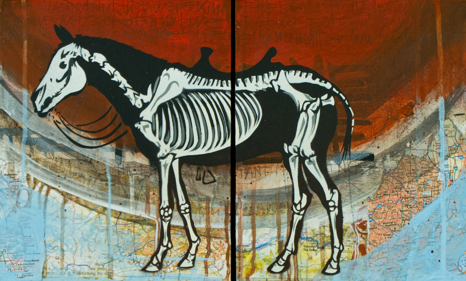"War Horse (diptych), Mixed Media on Wood, 17""x10"""