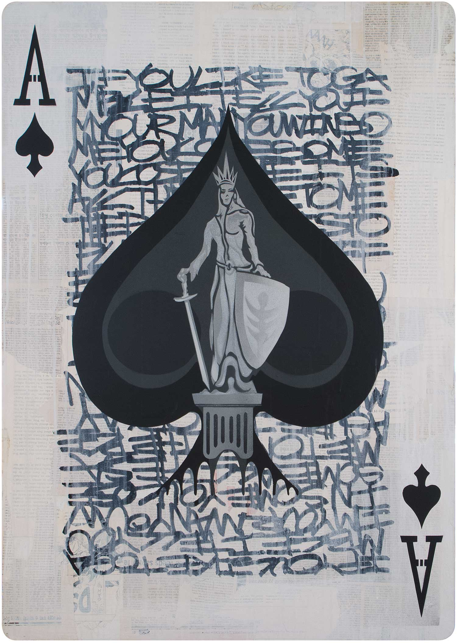 "Ace of Spades, Mixed Media on Wood, 24""x34"""
