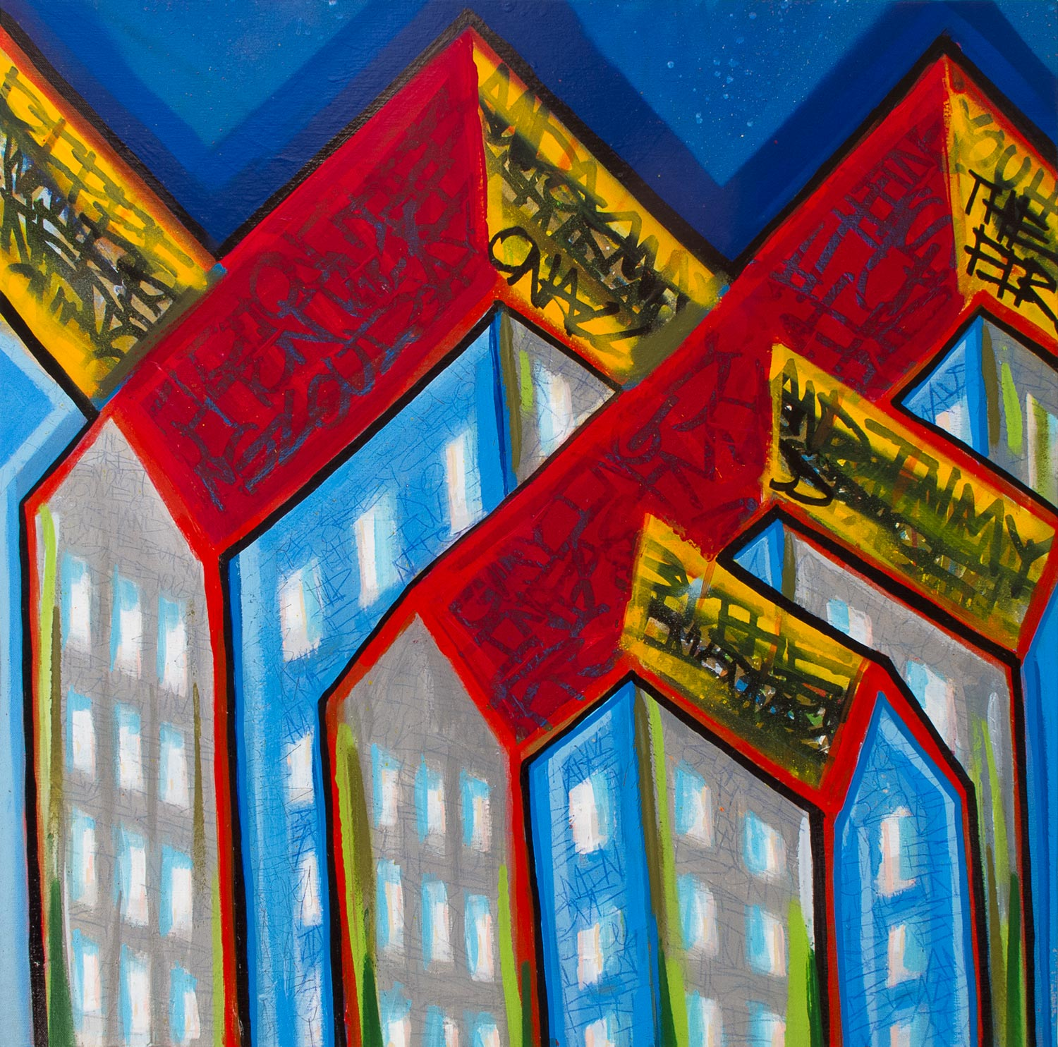 "Infinity Towers,  Mixed Media on Canvas, 30""x30"""