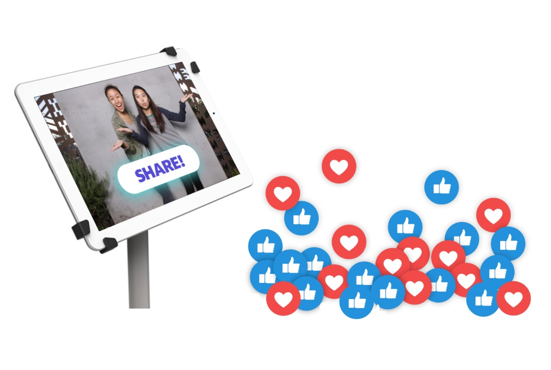 Social sharing! - Each booth has the option for our client to share their funnest memories at the event.Corporate clients love this feature as it provides more opportunity for branding and post-event engagement!