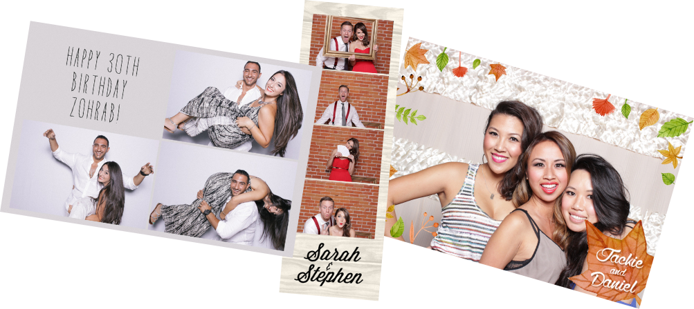 Custom flipbook covers and photo booth prints! - Expertly created by our in house designers, each cover and print match our client's theme.