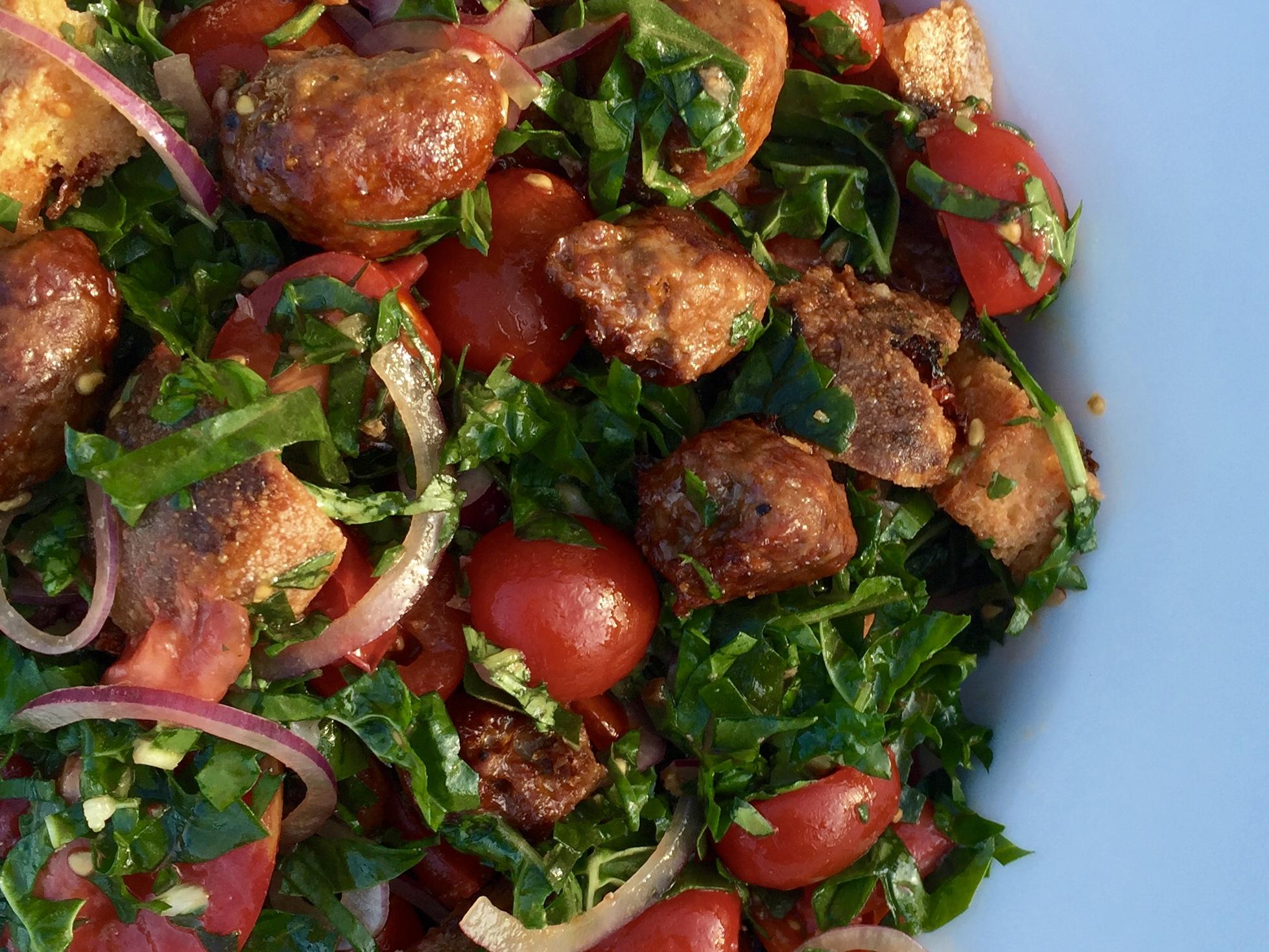 sausage, bread and tomato salad