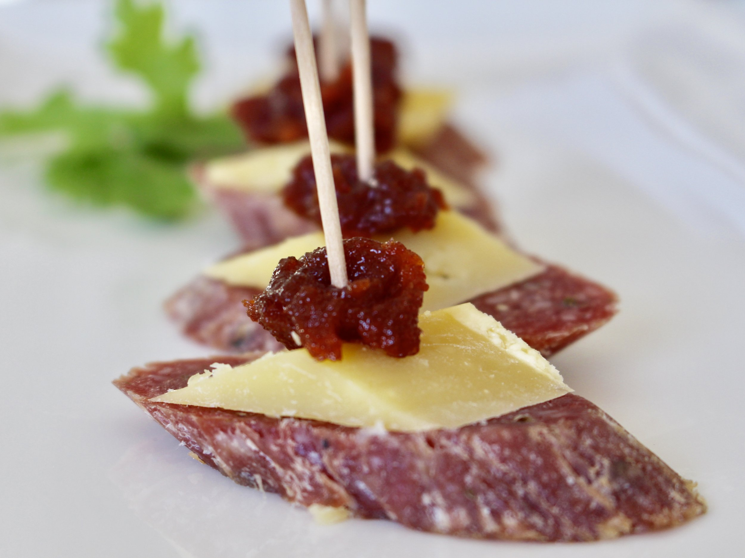 salami cheese quince paste canapés