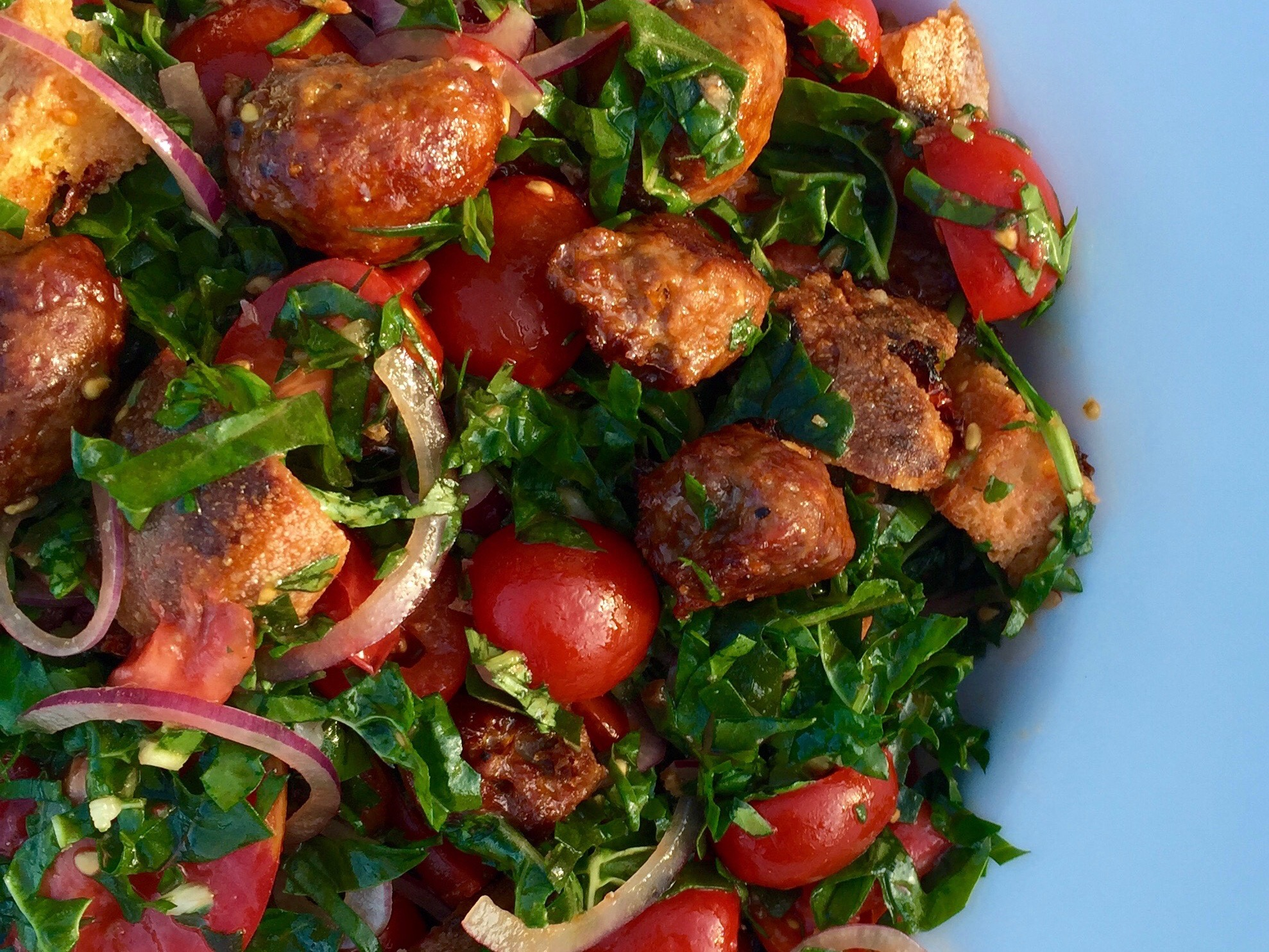 sausage, bread and tomato salad