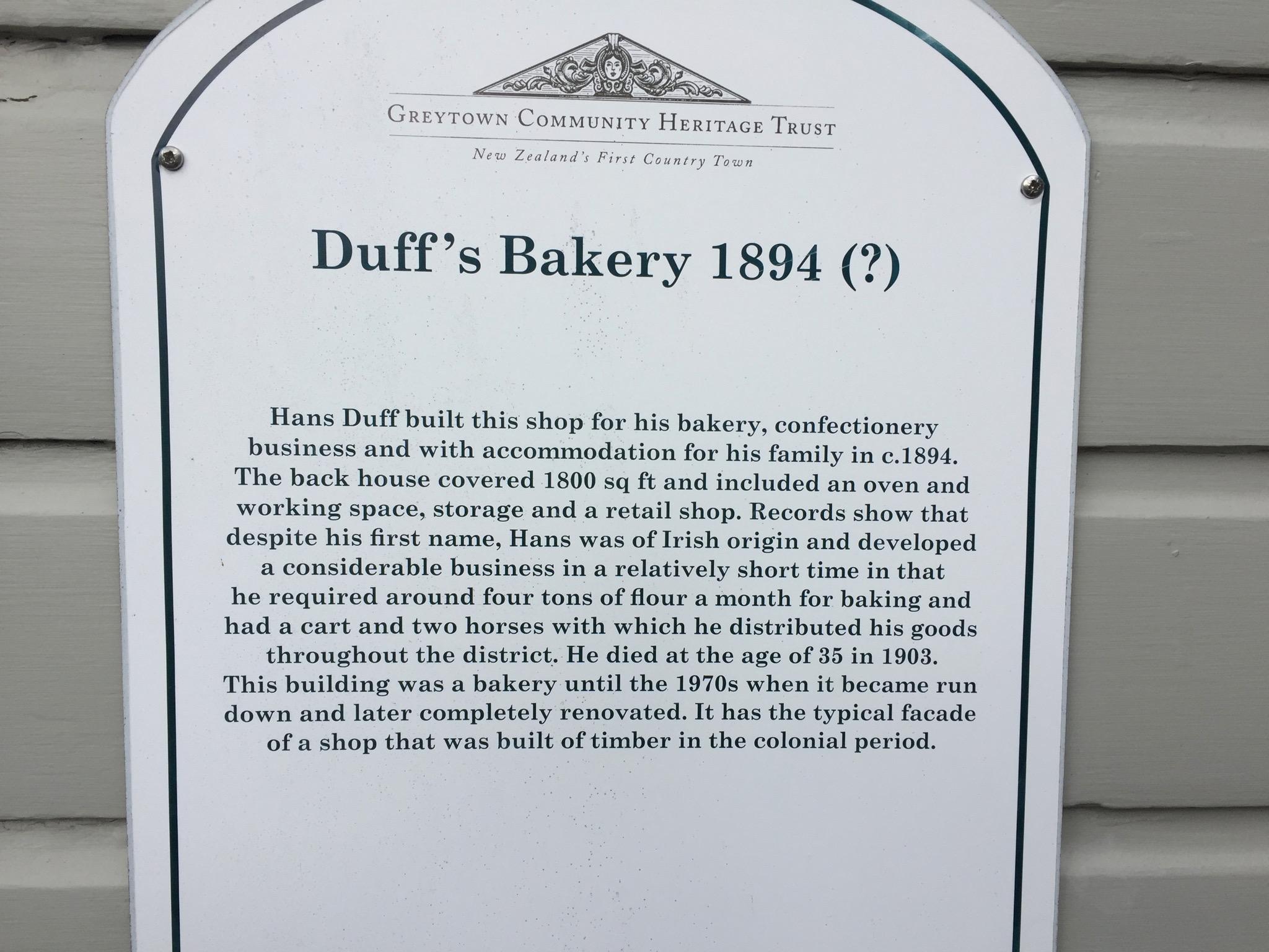 Duff's bakery, Greytown