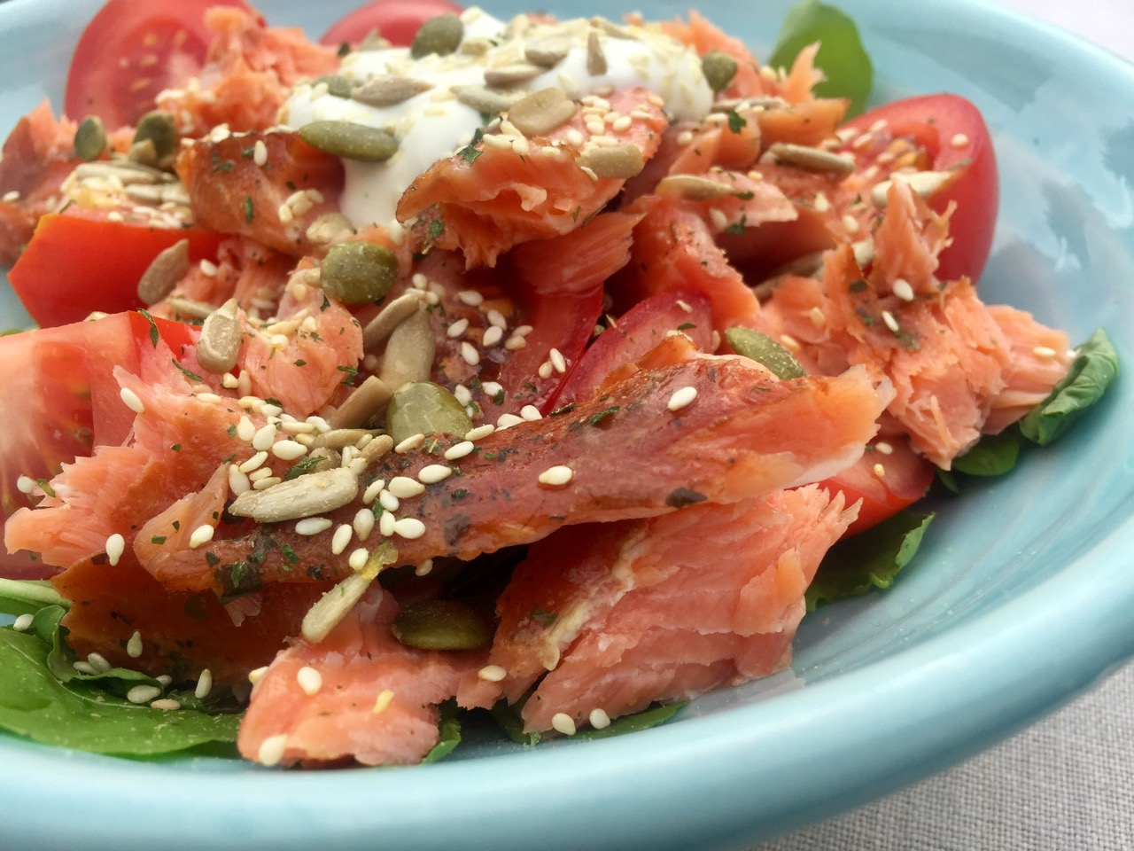 Smoked fish and tomato salad
