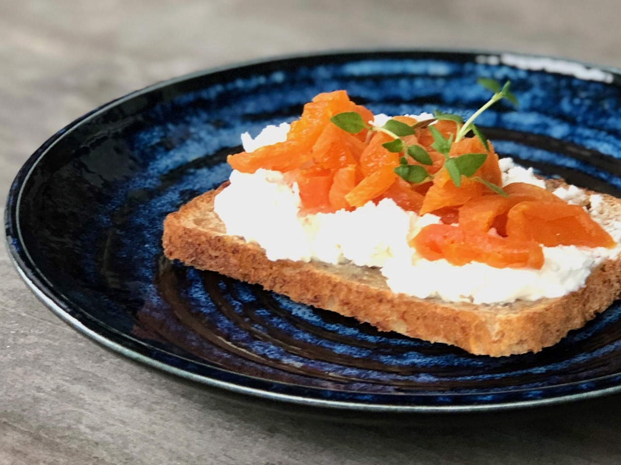 soft cheese and apricots on toast