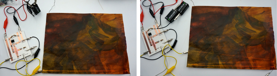 First of all, I tested out the thread lengths according to the power. I painted thermo ink on paper and attached conductive thread on the backside of paper. If it had around a 9volts battery power, then the ink disappeared up to 25inches. When it was connected to two batteries over 16volts, then the ink receded up to 36inches.
