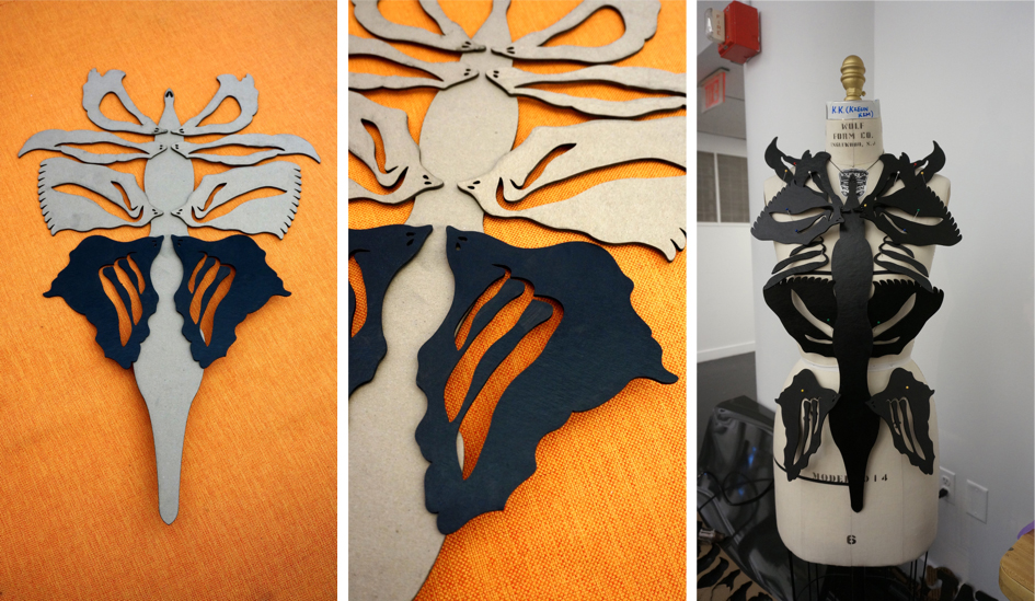 Then, I did laser cutting using chipboards and painted on them. The shapes came from skeleton, natural & organic forms.