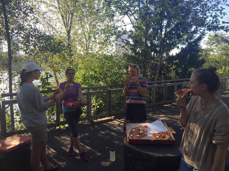 On the first day back in Portland, the students enjoy some pizza and a view as they prepare for the next unit of the summer program.  Photo: North Bennett