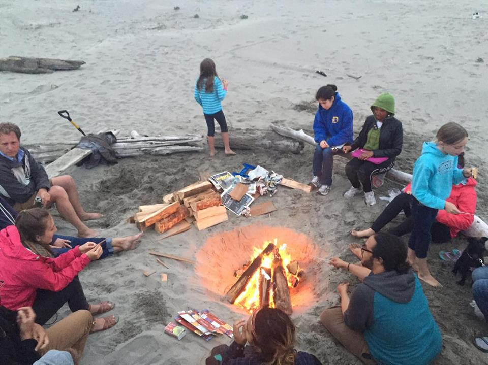 On the last night of camp, the students say goodbye to Gearheart with a bonfire on the beach.    Photo: Rose Holdorf