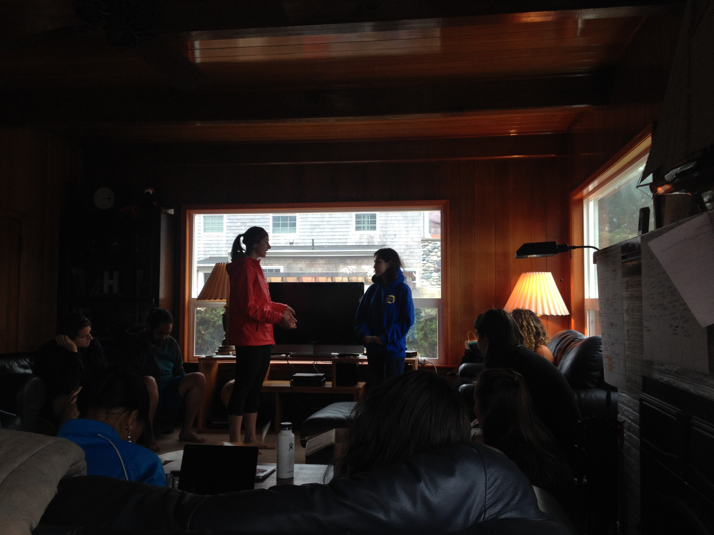 Students practice interview skills on each other before heading to Astoria to interview strangers.    Photo: Rose Holdorf