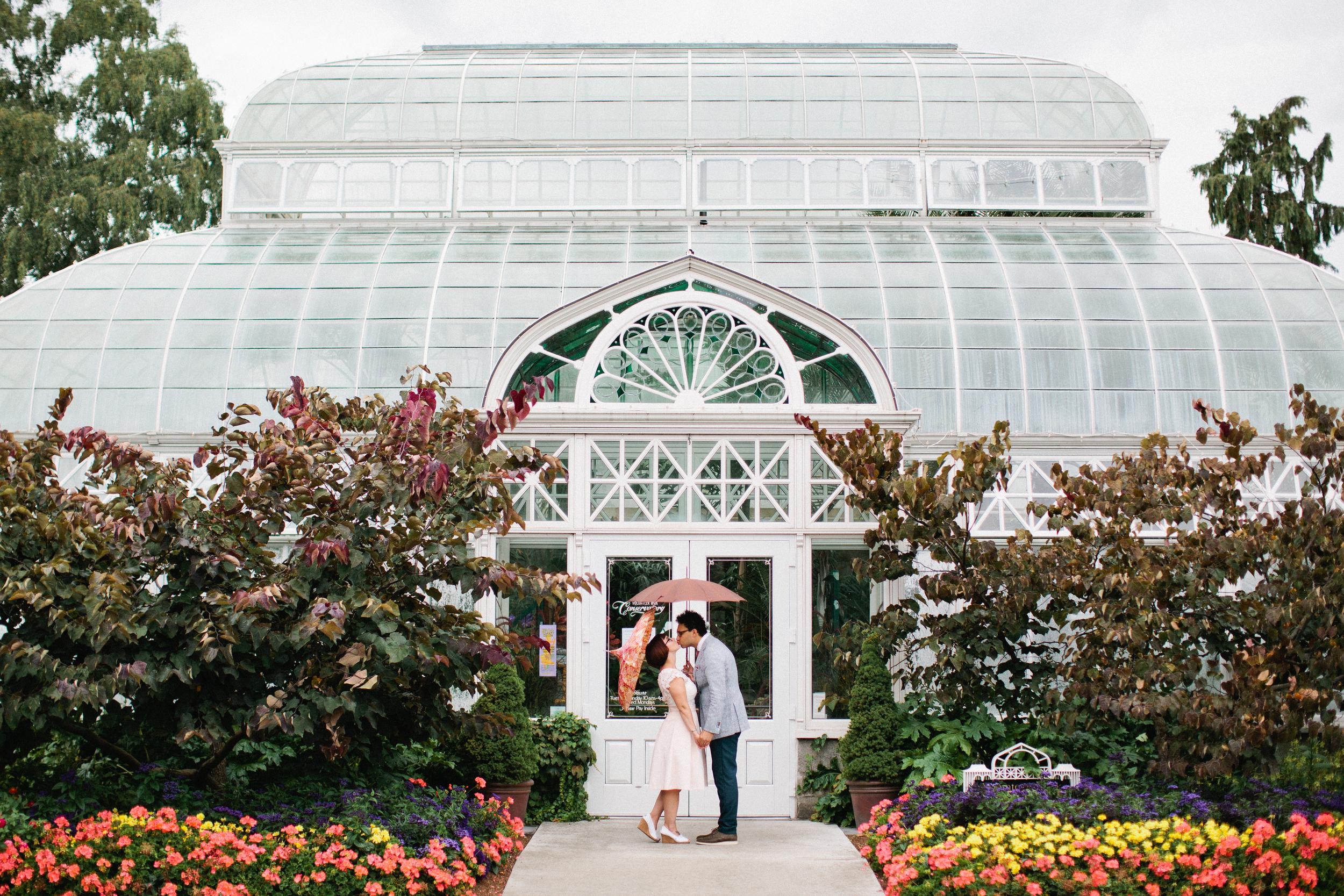Volunteer Park Conservatory elopement in Seattle.