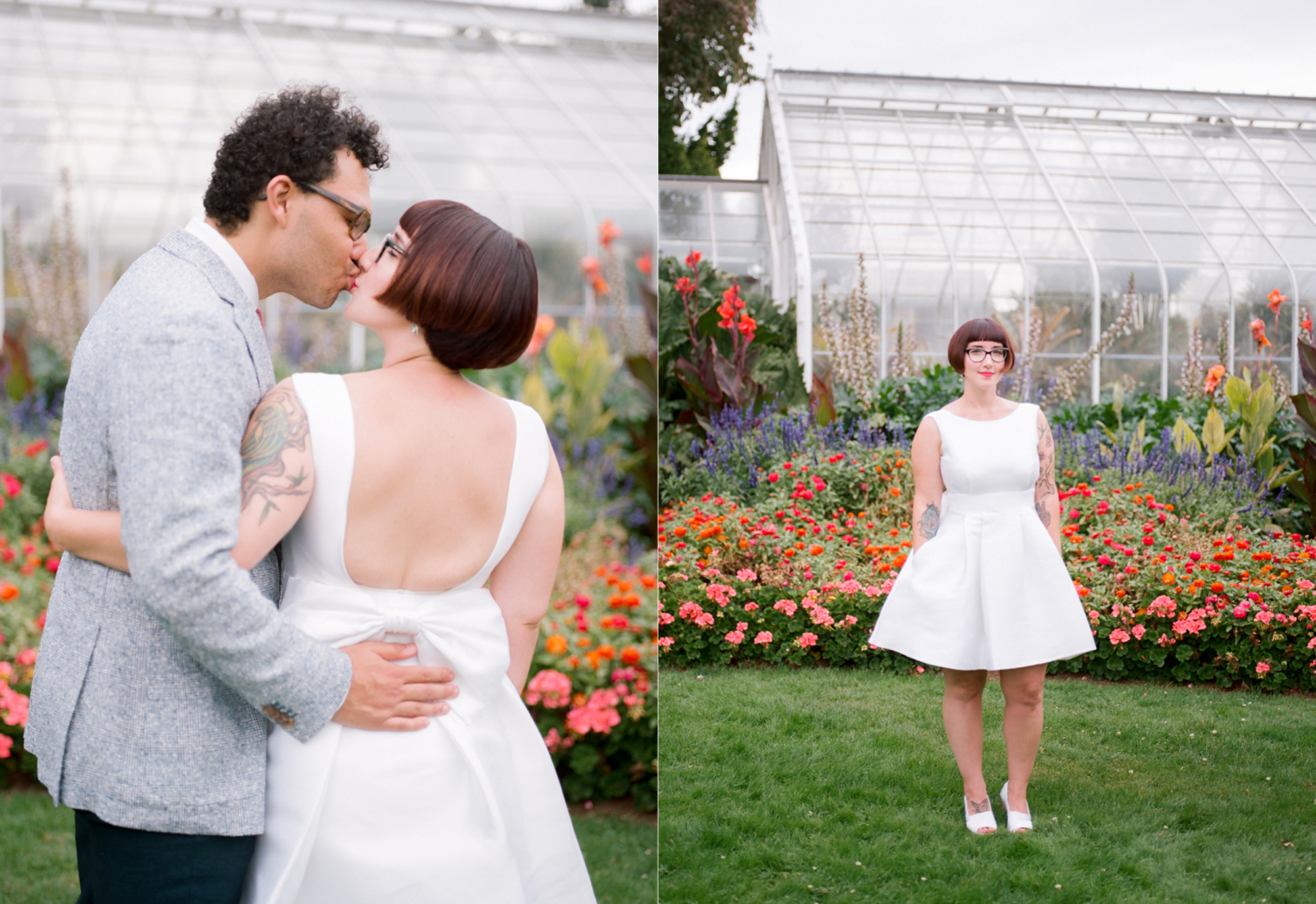 Bride and Groom Portraits at a Volunteer Park Conservatory Wedding.