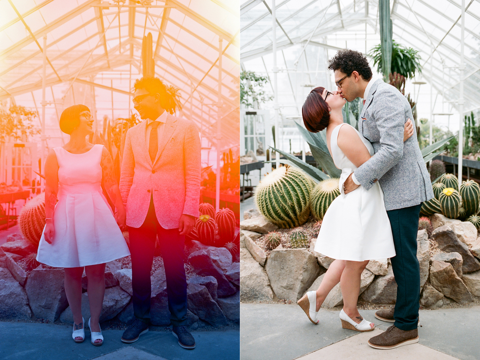 Bride and Groom Portraits at a Volunteer Park Conservatory Wedding