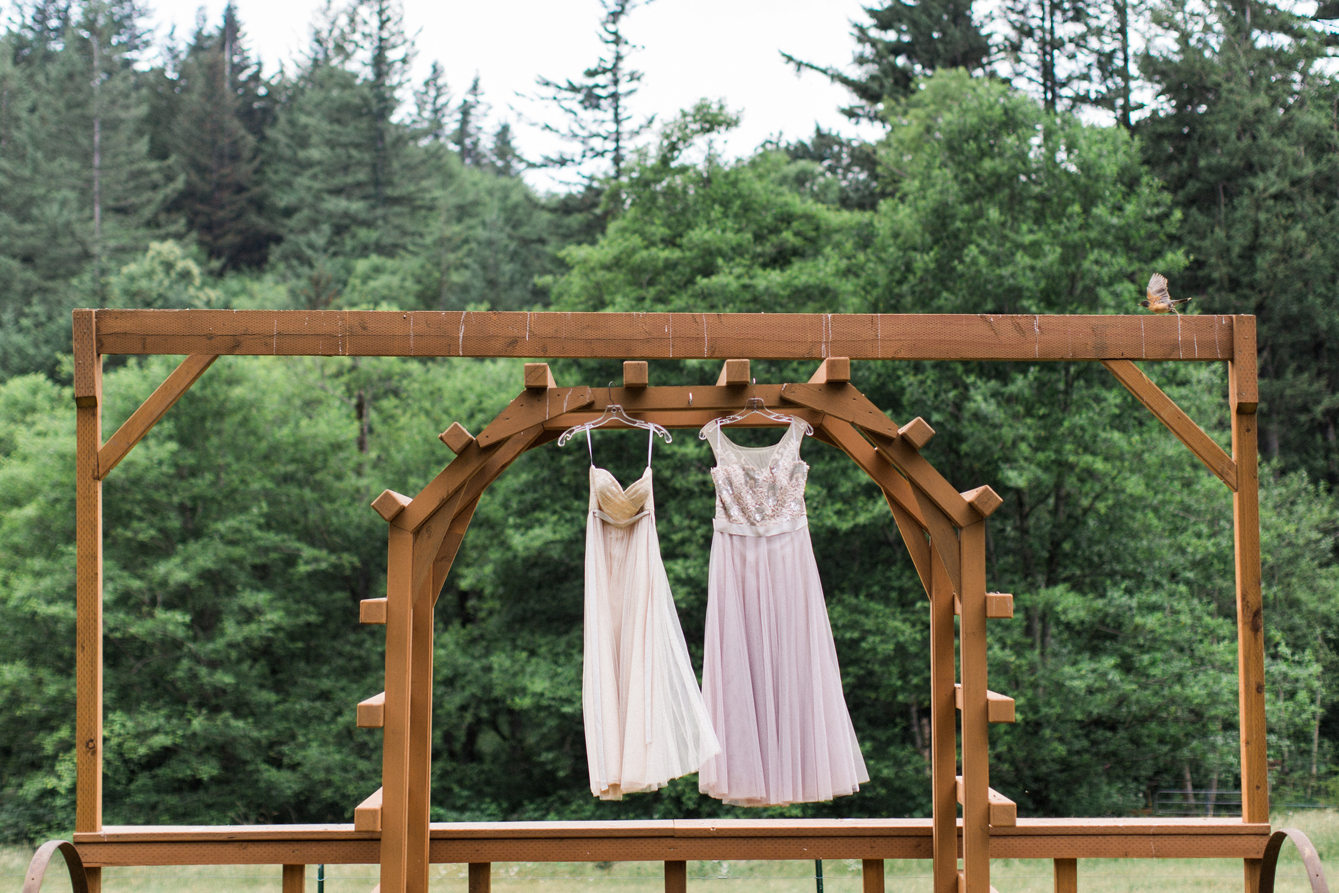 Hers and hers wedding dresses for a western Washington elopement.