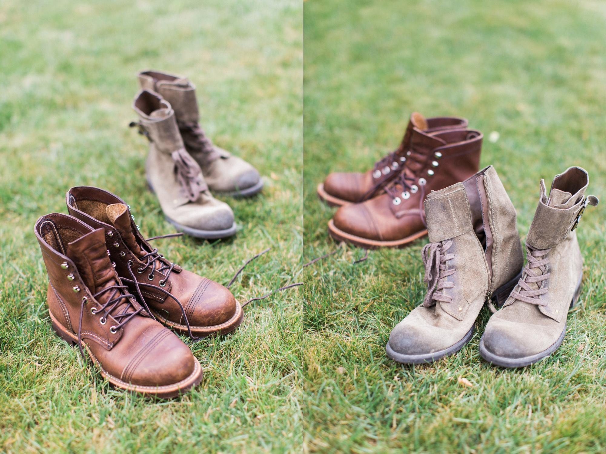 Outdoor elopement inspired wedding bridal boots.