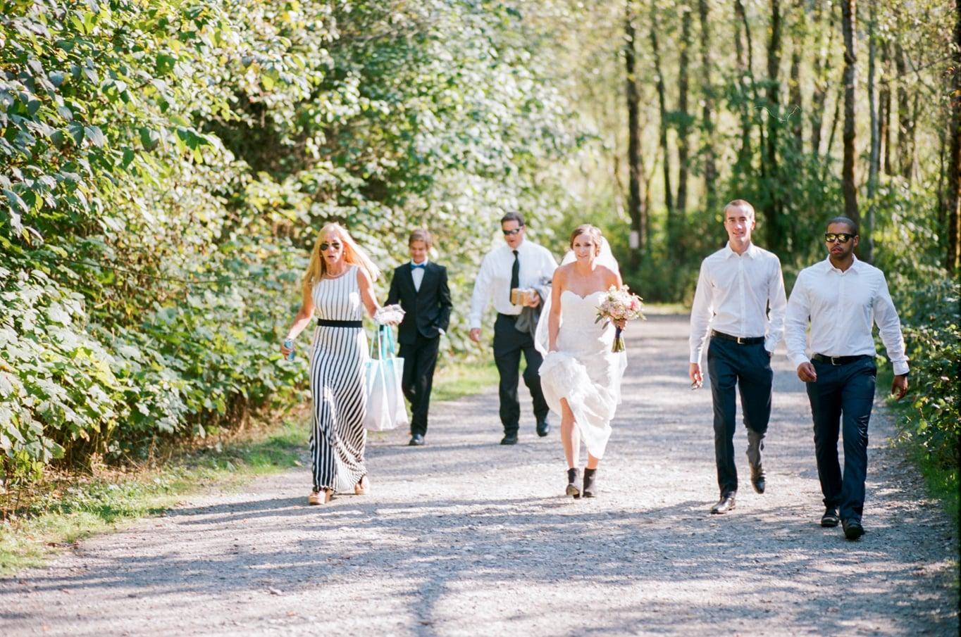 Bride arriving to Rattlesnake Lake - Alexandra Knight Photography