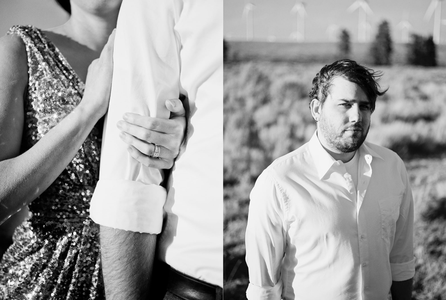 Couples Portraits with a Badgley Mischka gown at Wild Horse Wind Farm in Eastern Washington.