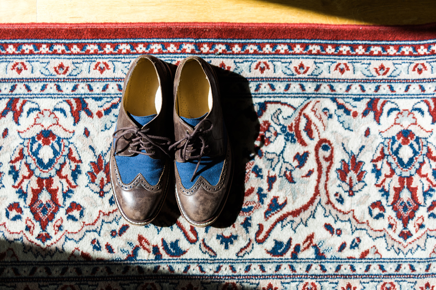 Blue and brown wedding shoes