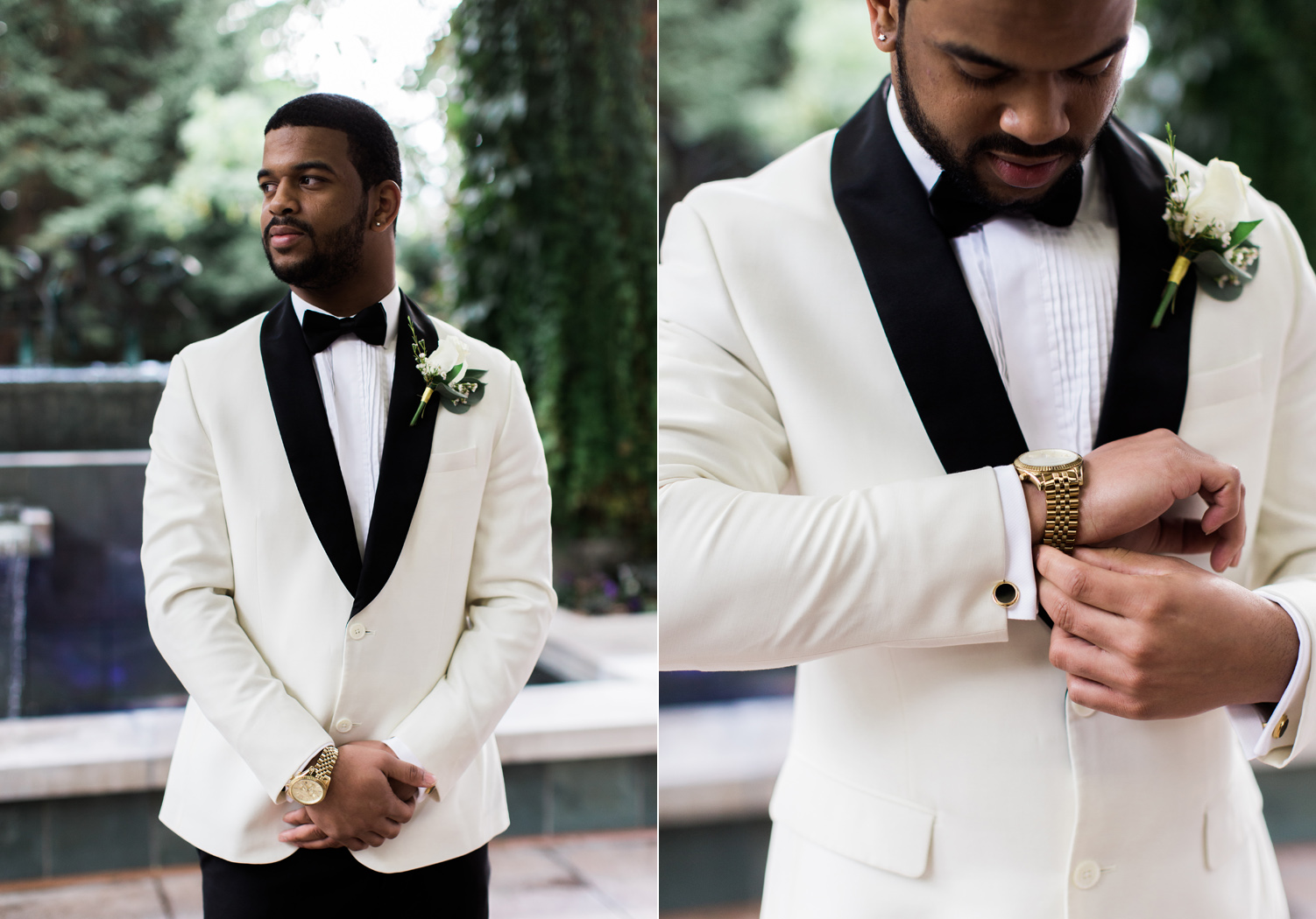 black tie groom beige suit gold watch wedding outfit style.jpg
