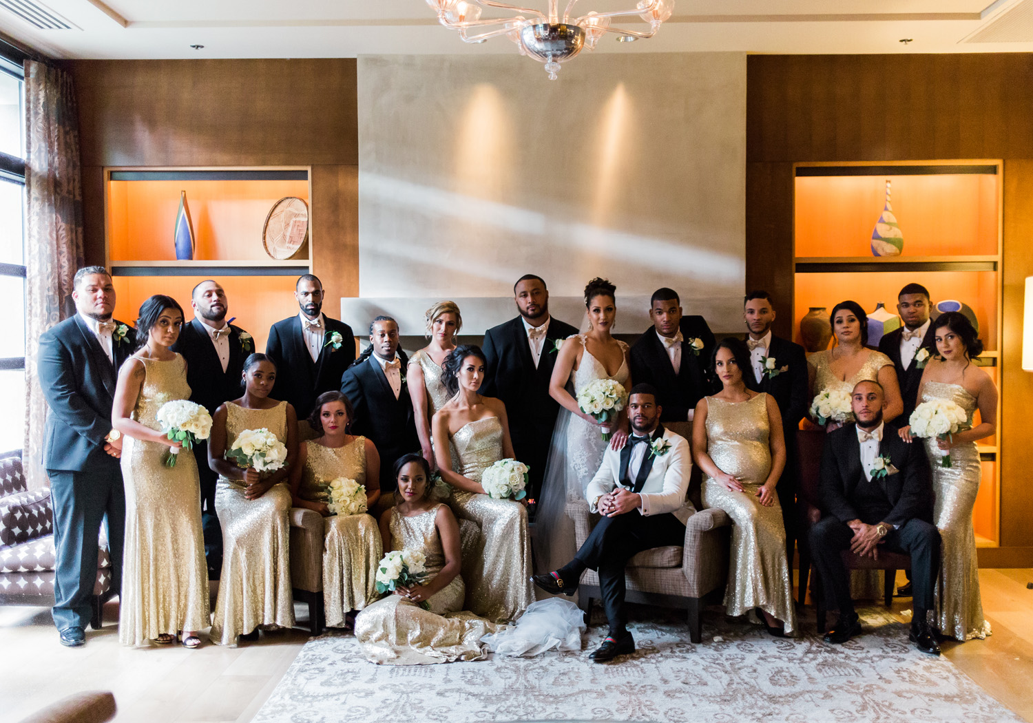 Black and Gold African American Bridal Party Bellevue Club Wedding Photography