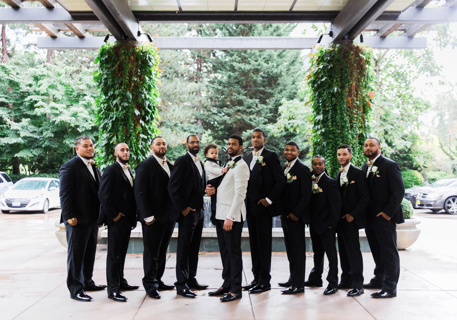 black tie bridal party bellevue club wedding.jpg