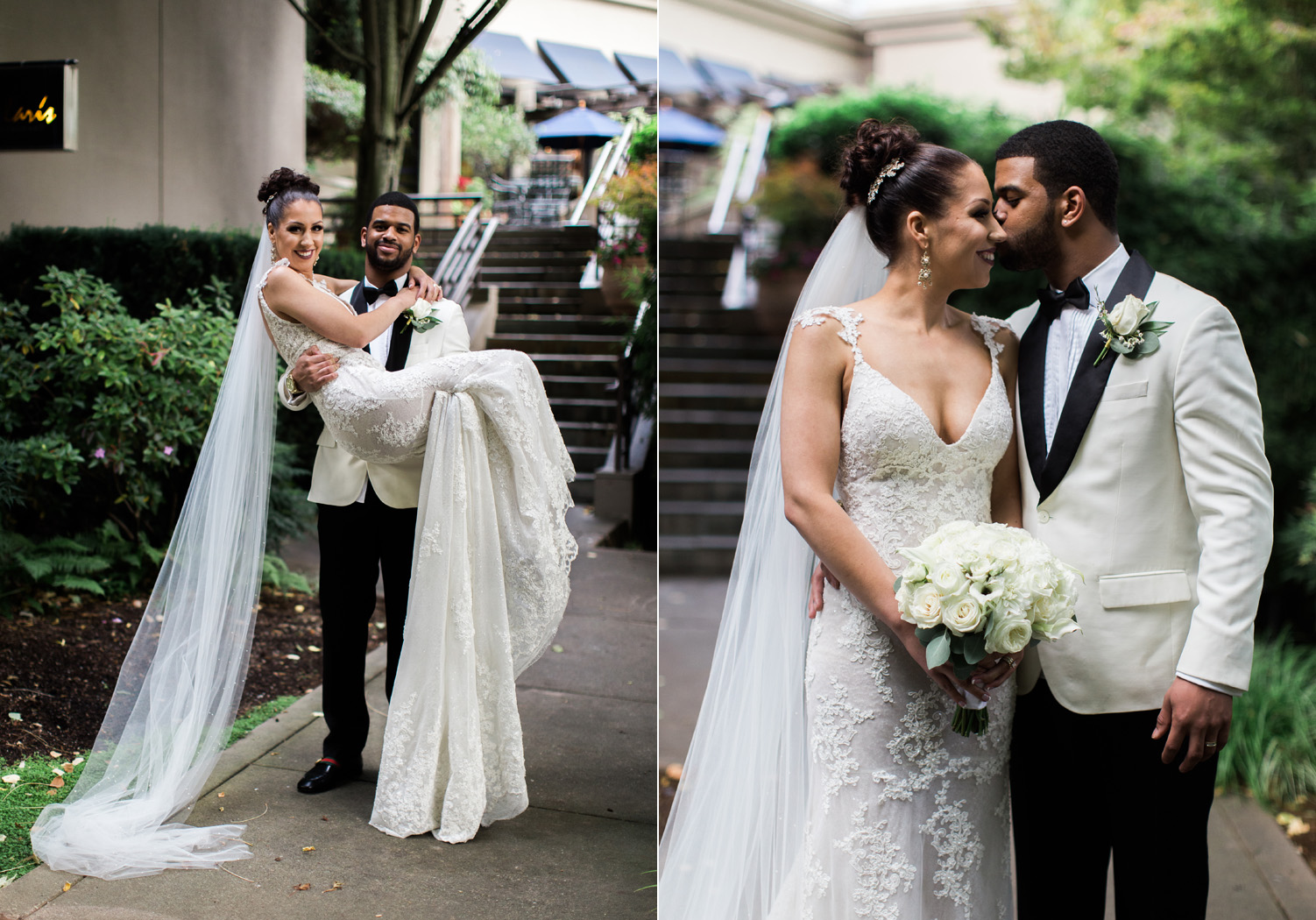 Romantic Bride and Groom African American Couple Wedding Portraits at The Bellevue Club