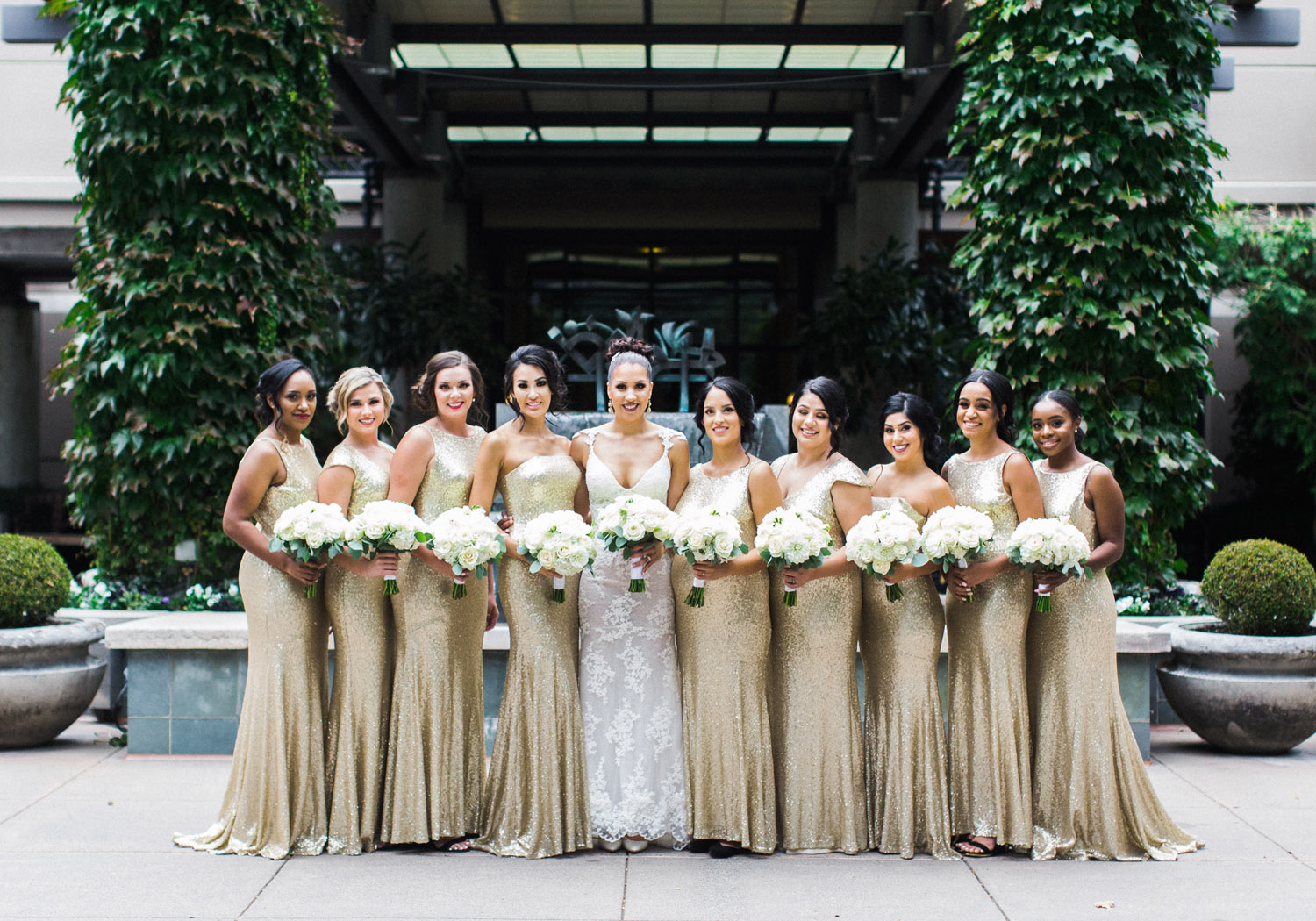 bride and gold bridesmaid dresses.jpg
