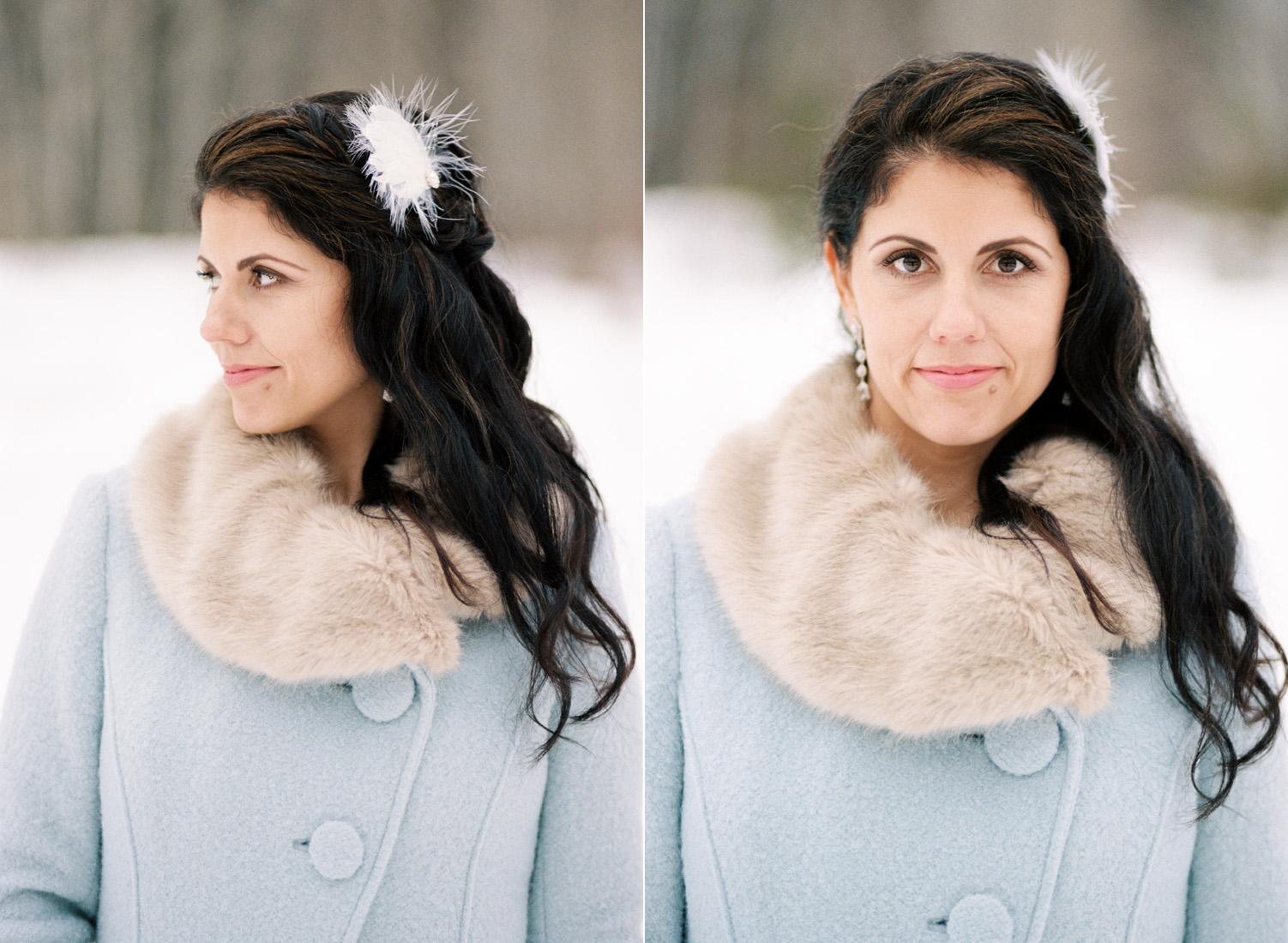 Winter Wedding Bride with a Blue Coat Leavenworth Washington.jpg