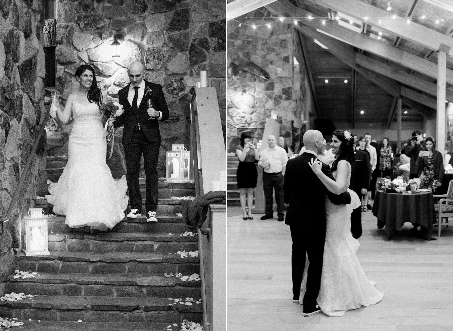 Sleeping Lady Mountain Resort in Leavenworth Winter wedding first dance photography in the Salmon Gallery