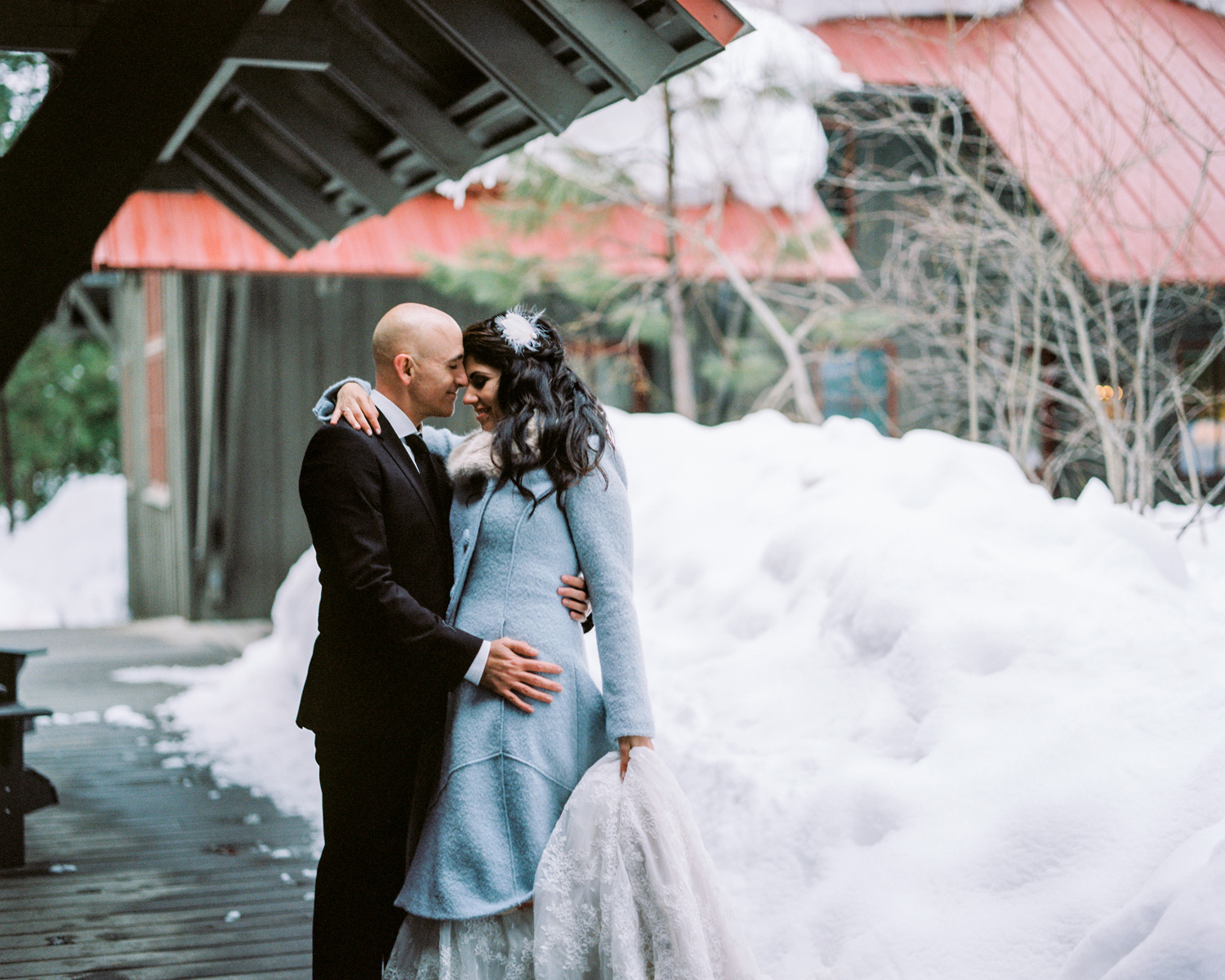 Bride and Groom at the Sleeping Lady Mountain Resort in Leavenworth Winter wedding photography