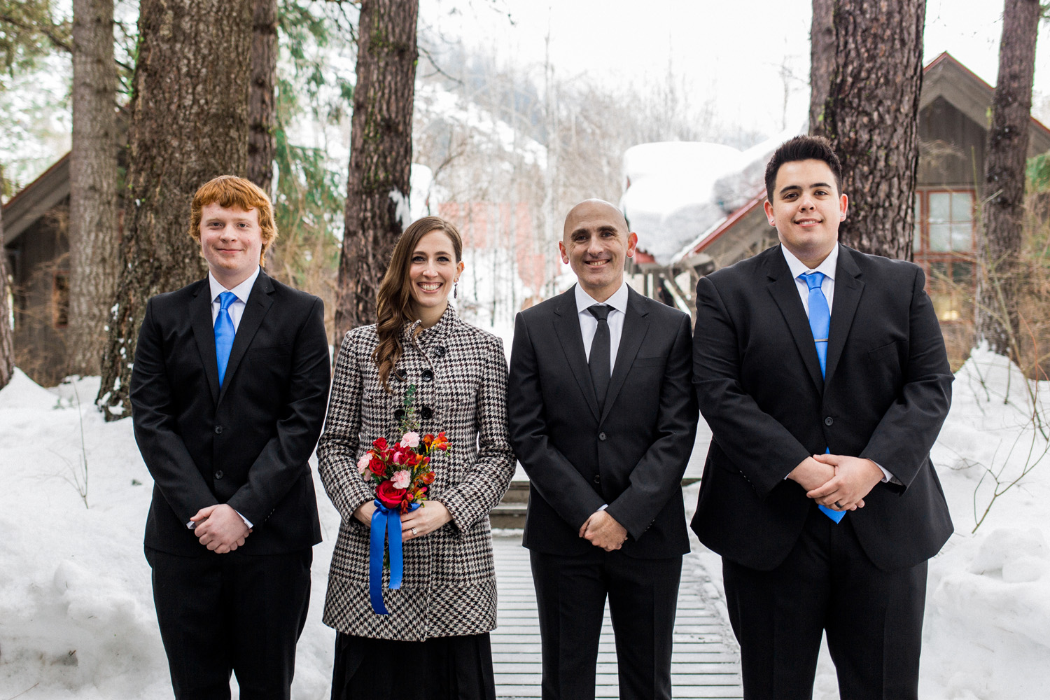 Bridal Party at the Sleeping Lady Mountain Resort in Leavenworth Winter wedding photography