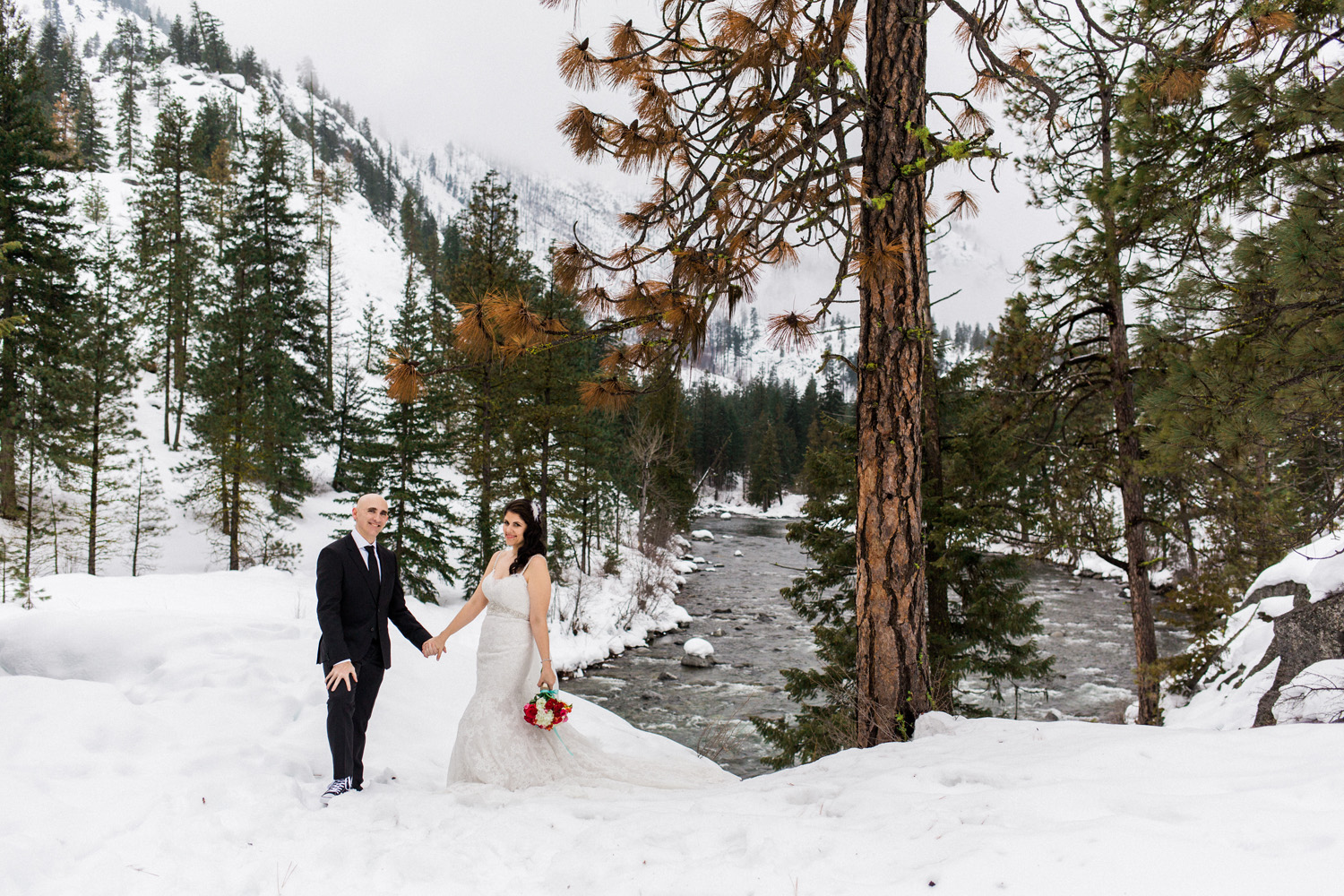 Sleeping Lady Mountain Resort in Leavenworth Winter wedding photography on film by Icicle Creek