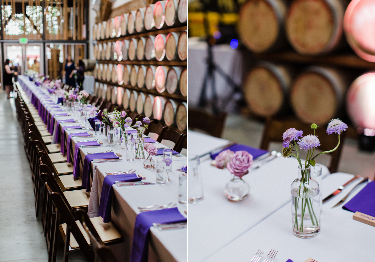 Purple Ombre Farm Table for Wedding Reception at Westland Distillery in SODO Seattle Alexandra Knight Photography