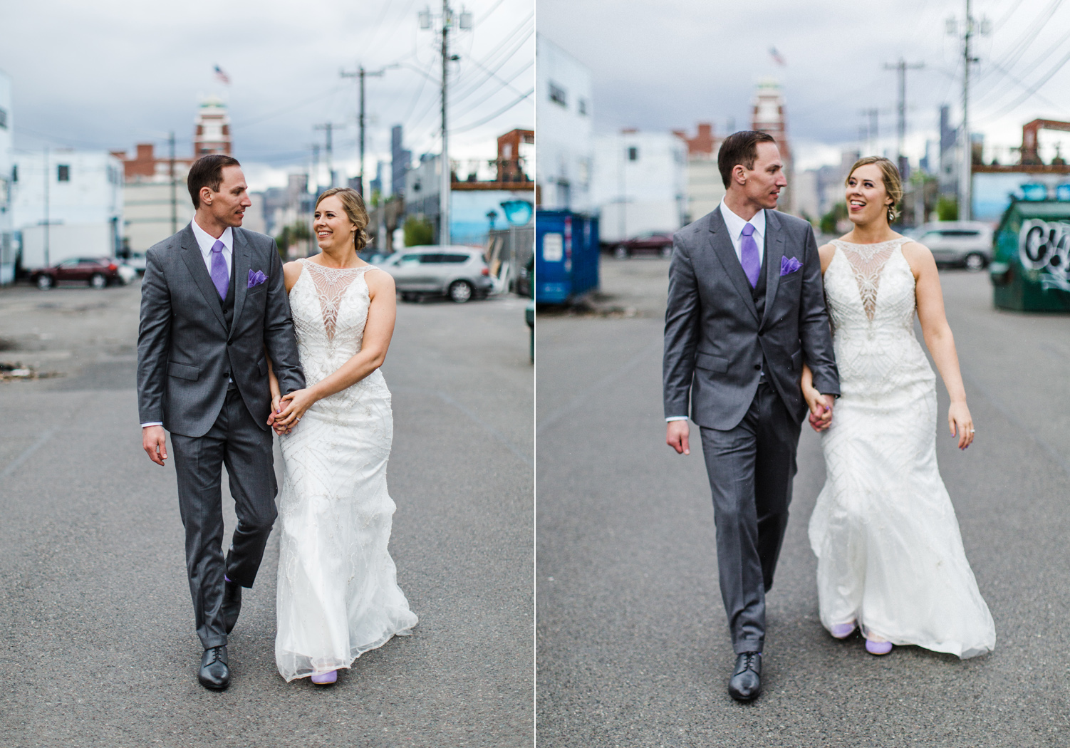 Seattle SODO Wedding Couple Portraits by Alexandra Knight Photography Seattle Wedding Photographer