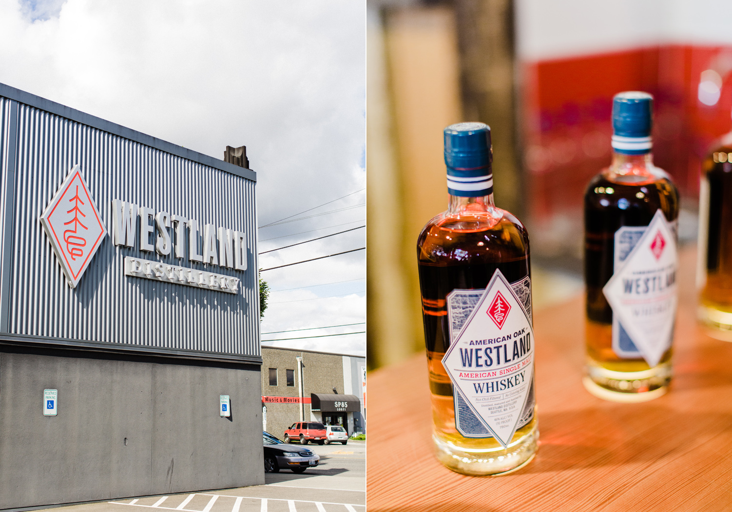 Westland Distillery Building Exterior and Whiskey Bottles by Alexandra Knight Photography