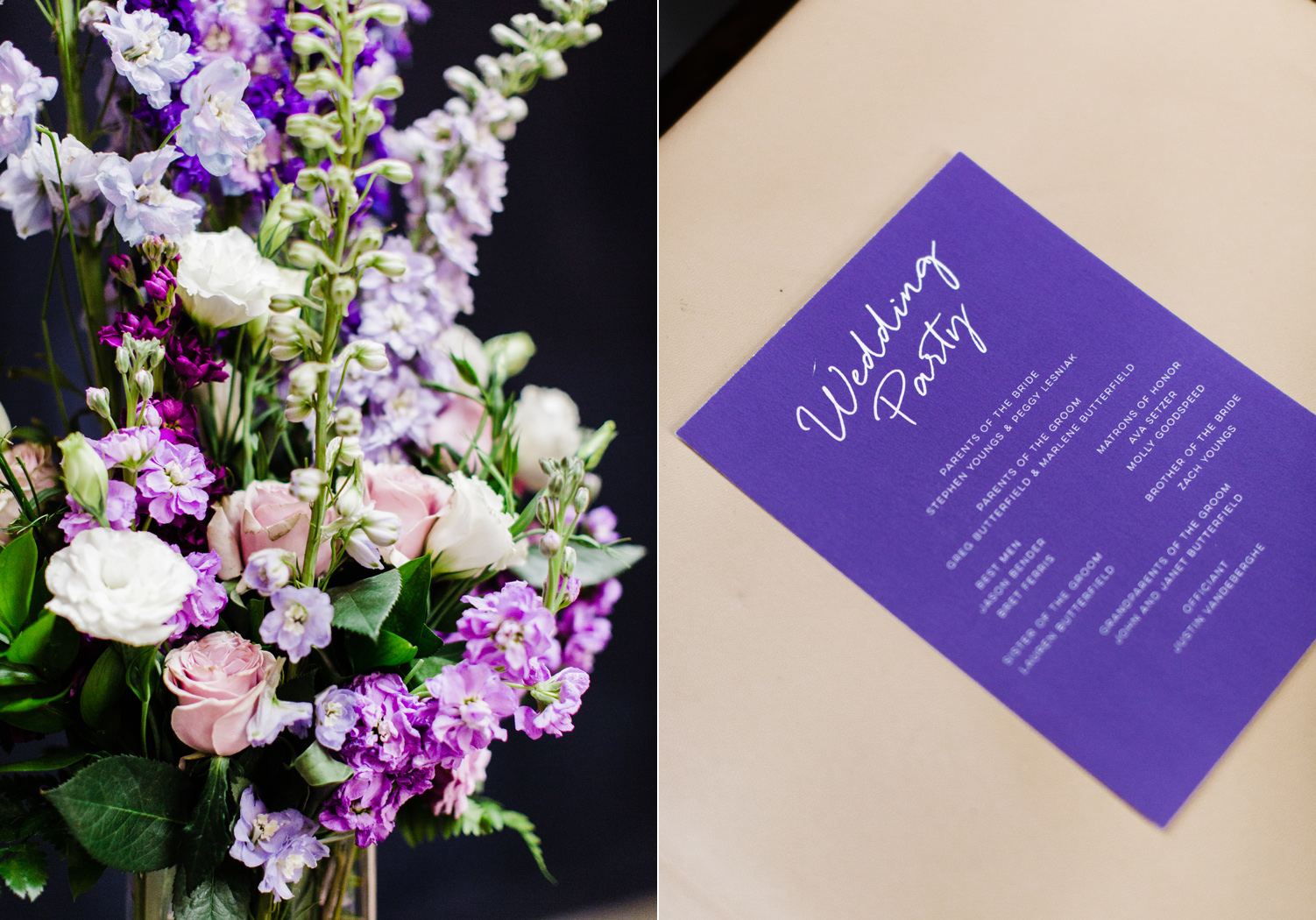 Purple Ombre Wedding Details at Westland Distillery by Alexandra Knight Photography