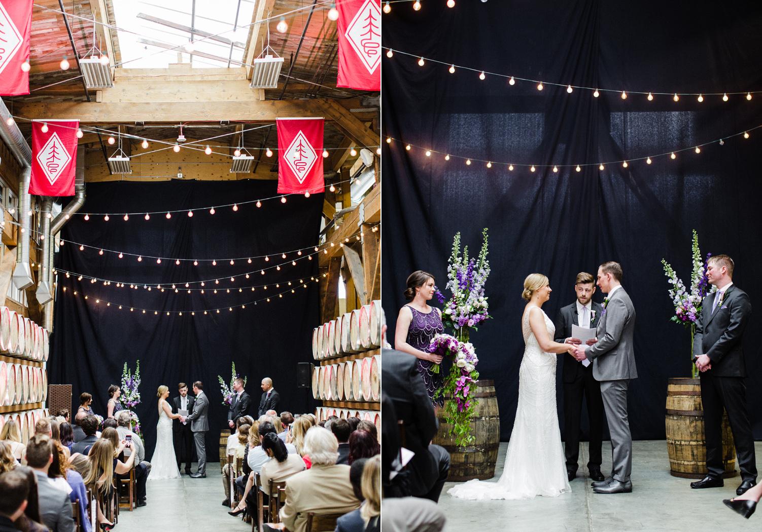 Westland Distillery Indoor Wedding Venue Ceremony Barrel Room by Alexandra Knight Photography