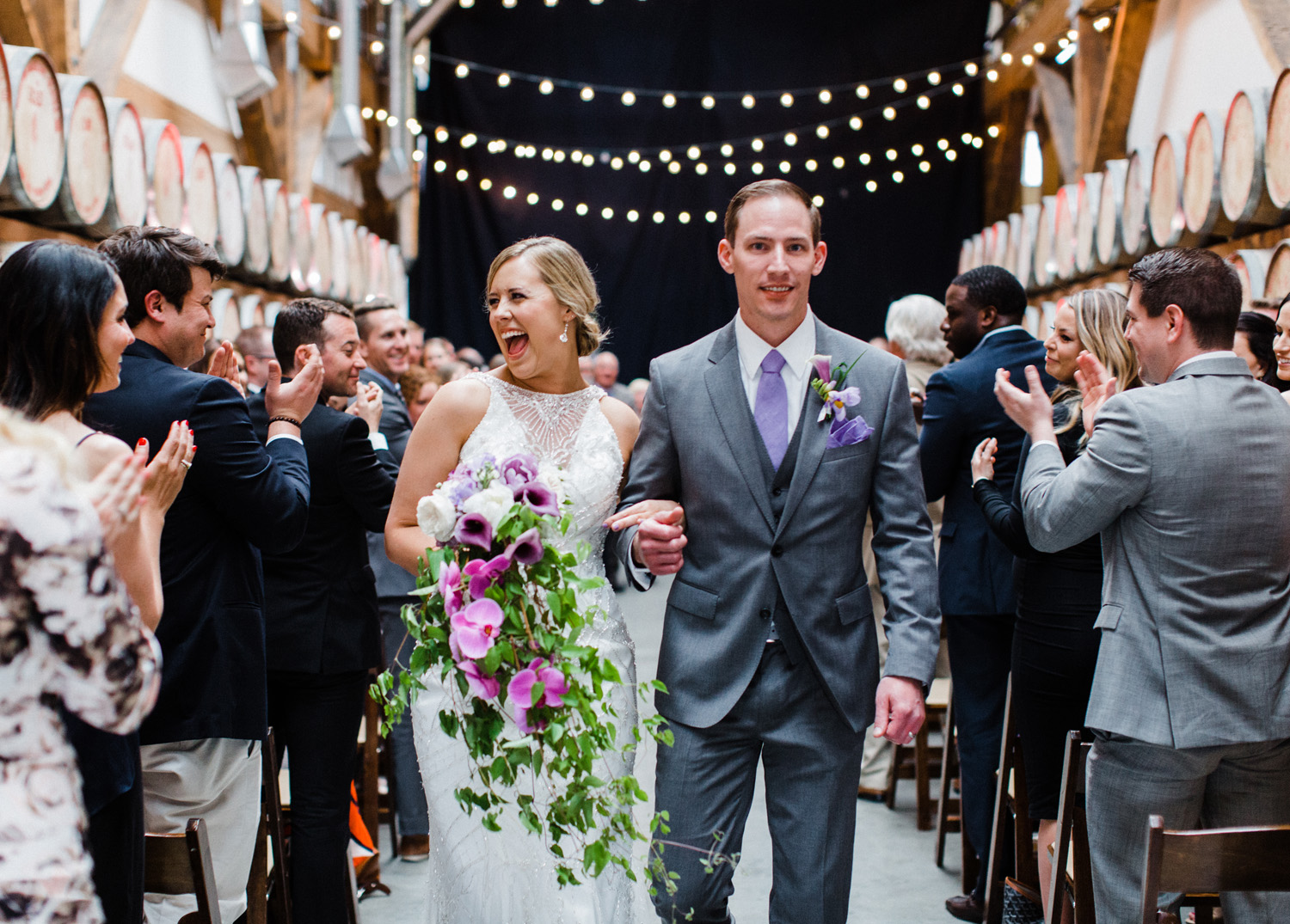 Couple After their ceremony at Westland Distillery Indoor Wedding Venue by Alexandra Knight Photography Seattle Wedding Photographer