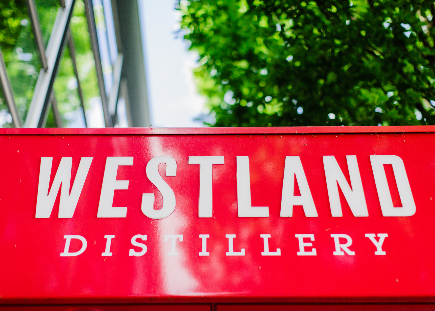 Westland Distillery in SODO Entry Marquee Sign Seattle Wedding Photographer
