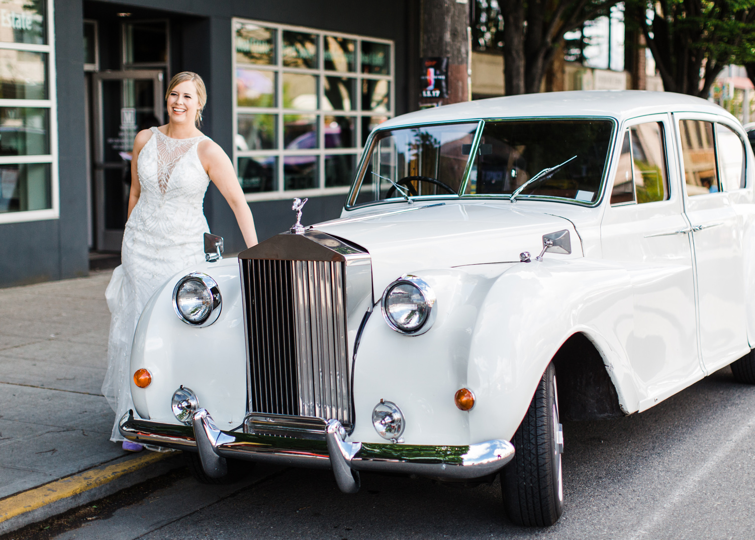Bride with British Motor Coach Classic Car in Seattle Alexandra Knight Photography