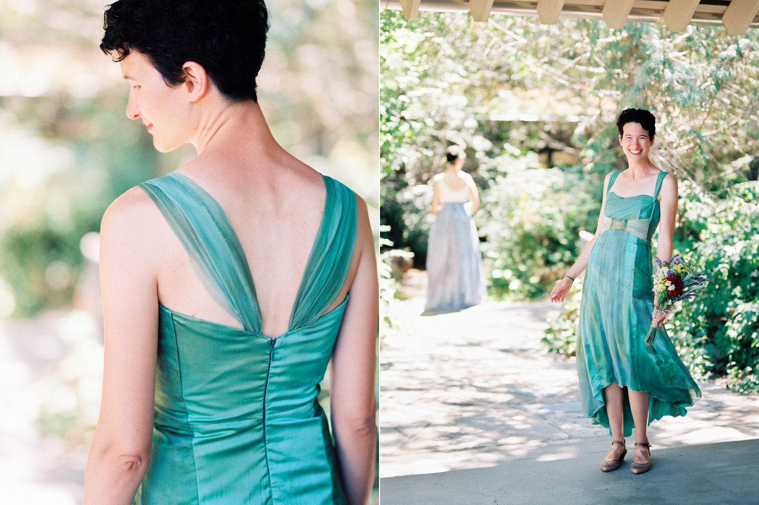 Custom Dyed Green Bridal Dress Northwest Wedding Photography.jpg