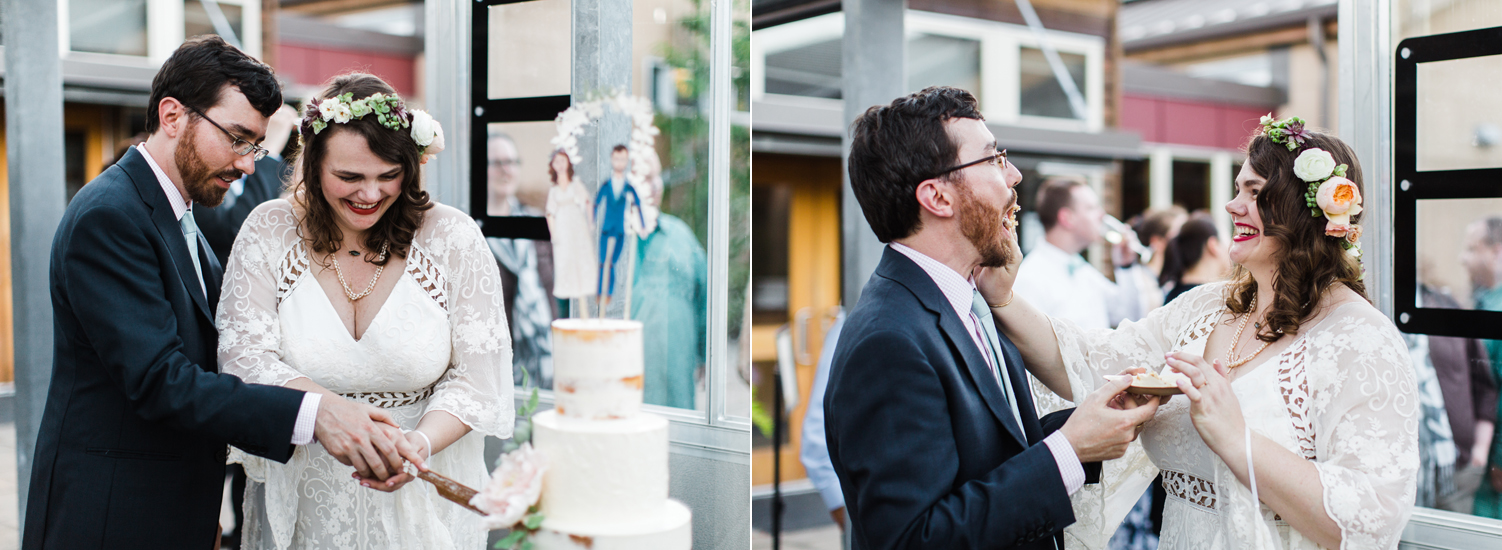 center for urban horticulture wedding cake cutting candid photography.jpg