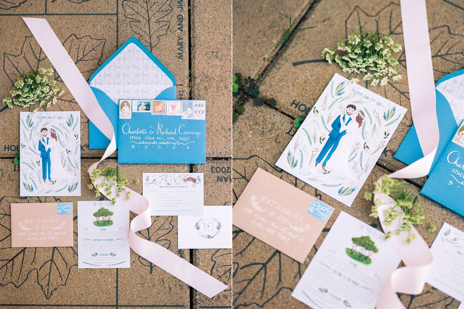 DIY Wedding Invitation Suite with blue and pink hand drawn details