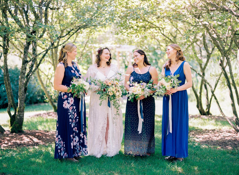 University of Washington Center for Urban Horticulture boho wedding with mismatched bridesmaid dresses