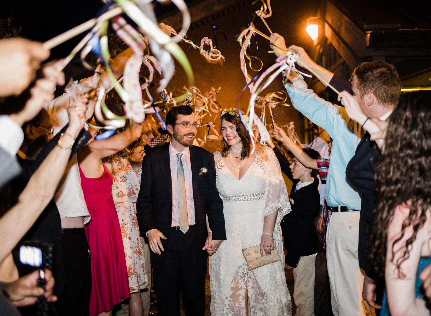 University of Washington Center for Urban Horticulture Wedding Reception Grand Exit with Ribbon Wands