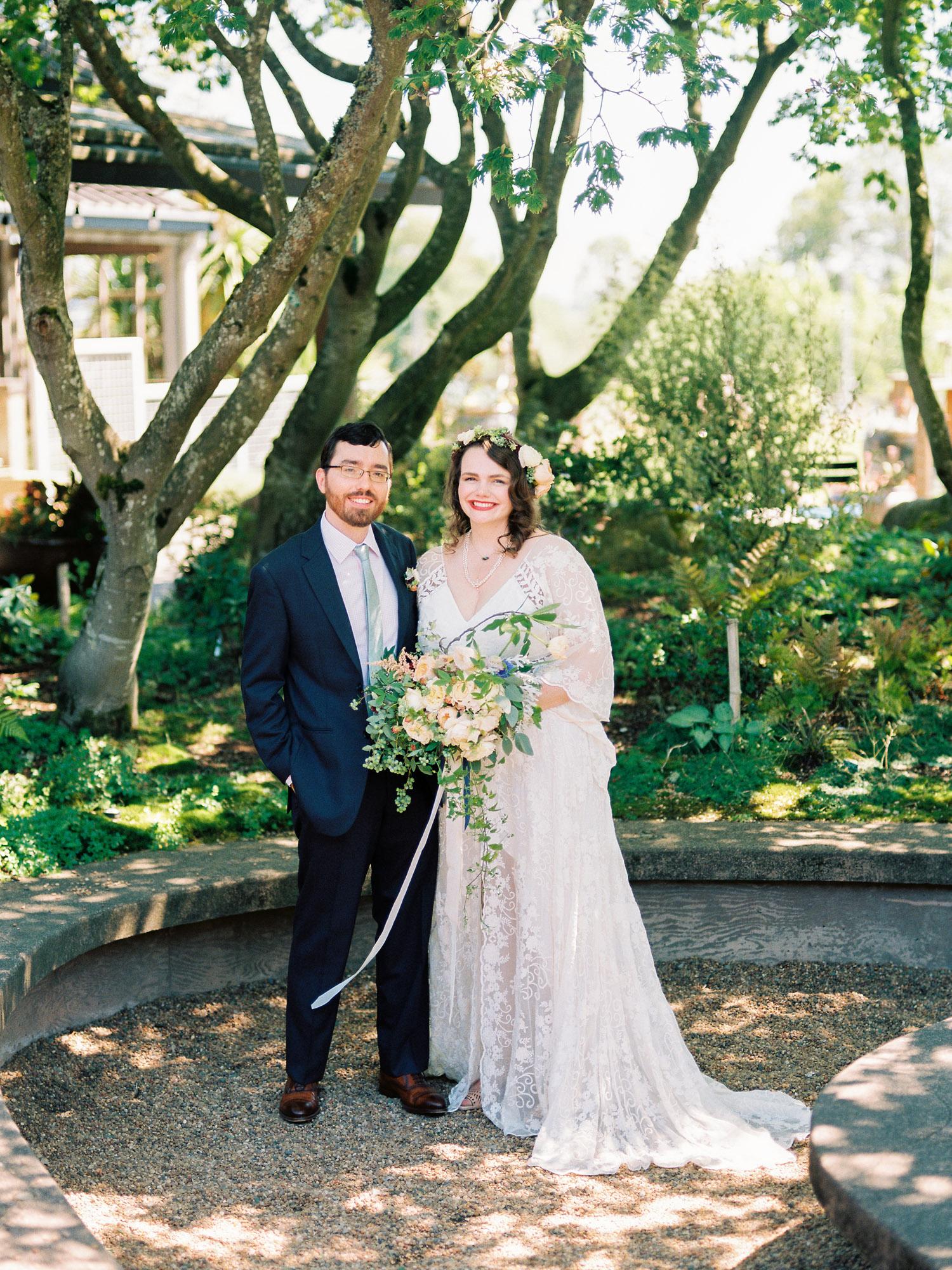 Seattle boho Bride and Groom at the University of Washington