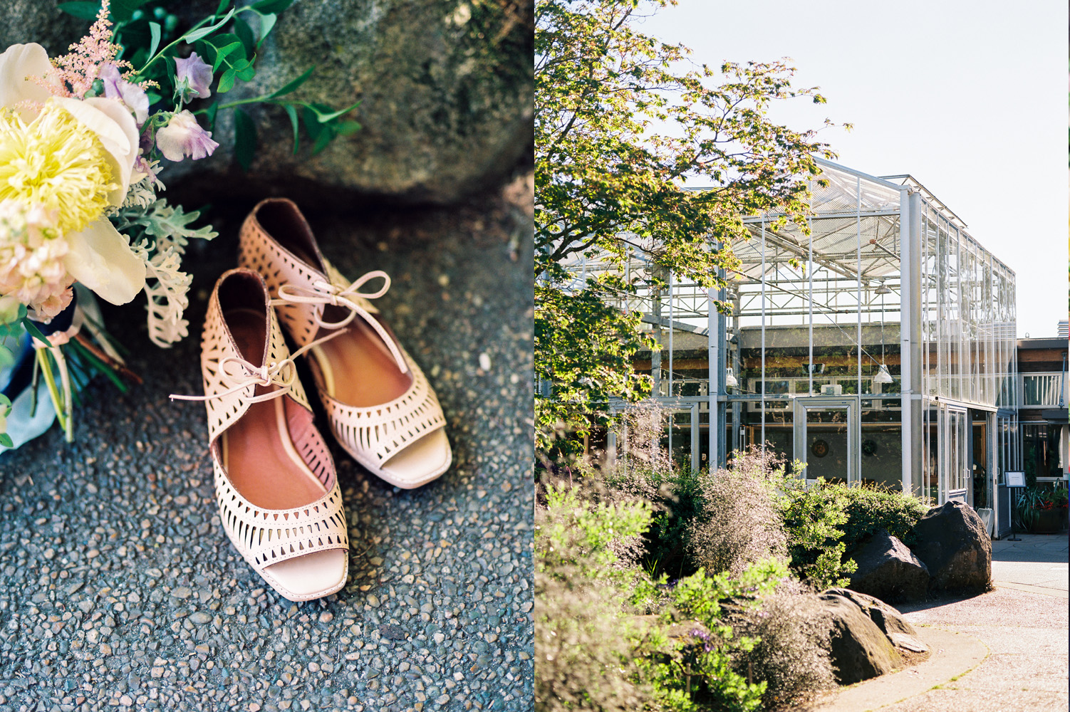 Vintage Seattle wedding details and brides shoes